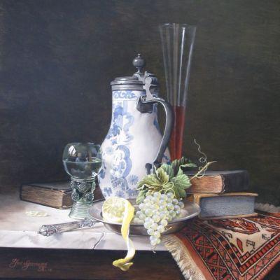 <strong>Chinese kan met boeken, fruit en glaswerk. Afm.60x50cm..JPG</strong>