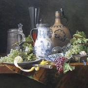 <strong>Chinese kan, steengoedkruik, tinnenkan, glaswerk en fruit (Afm. 60x80cm)</strong>