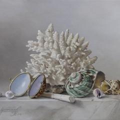 <strong>Schelpdoosje, schelpen en koraal. Afm.18x24cm.</strong>
