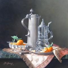 <strong>Schnabelstitze en zilveren kom met mandarijnen. Afm.60x50cm.</strong>